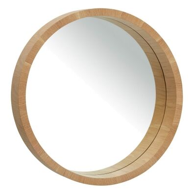 Paloma Wooden Frame Round Wall Mirror, 82cm