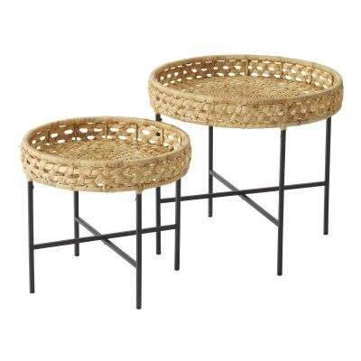 Riviera 2 Piece Water Hyacinth Tray Topped Metal Round Side Table Set