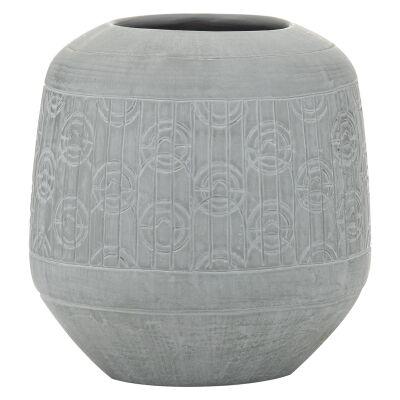 Linnea Ceramic Vessel, Medium, Light Grey