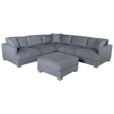 Bentons Fabric Modular Corner Sofa, 4 Seater with Ottoman, Grey