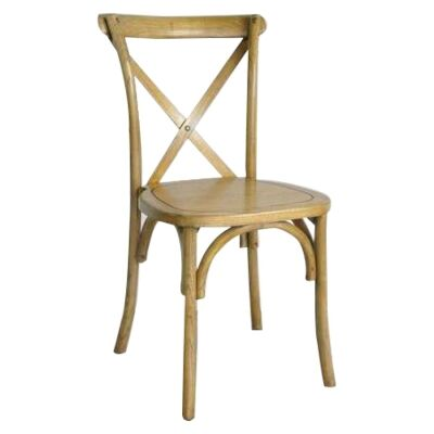 Sherwood Maple Timber Cross Back Dining Chair, Timber Seat, Oak