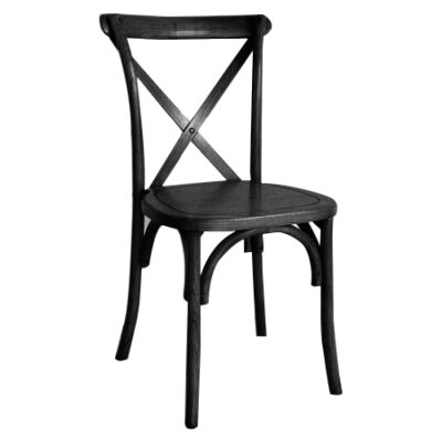 Sherwood Maple Timber Cross Back Dining Chair, Timber Seat, Black