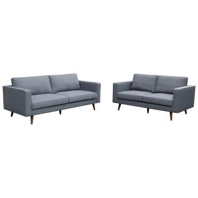 Brittany 2 Piece Fabric Sofa Set, 3+2 Seater, Dark Grey