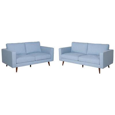 Brittany 2 Piece Fabric Sofa Set, 3+2 Seater, Light Blue