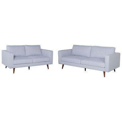Brittany 2 Piece Fabric Sofa Set, 3+2 Seater, Light Grey