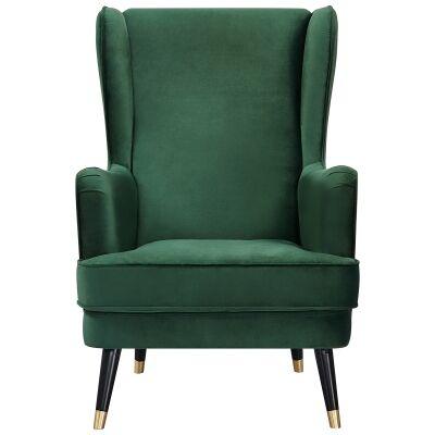 Balcombe Fabric Wing Back Armchair, Green