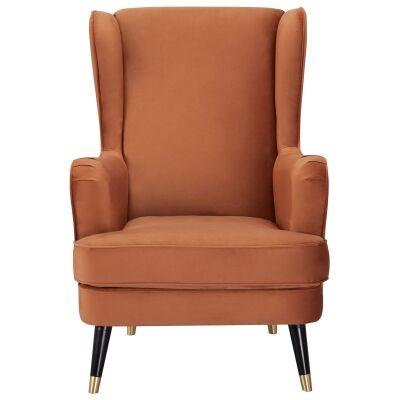 Balcombe Fabric Wing Back Armchair, Cinnamon