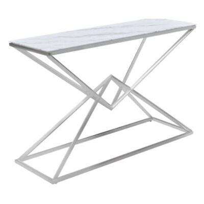 Hinx Glass Topped Stainless Steel Console Table, 120cm