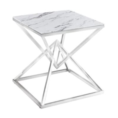 Hinx Glass Topped Stainless Steel Lamp Table