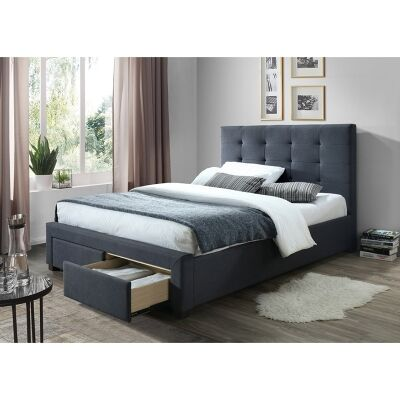 Massadona Fabric Bed with End Drawers, Double, Grey