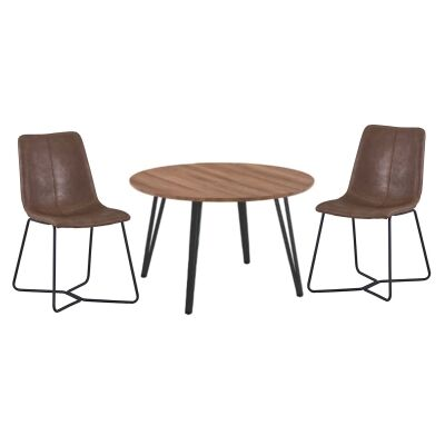 Banbury 5 Piece Round Dining Table Set, 120cm, with Brown Keresley Chairs