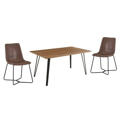 Banbury 7 Piece Dining Table Set, 160cm, with Brown Keresley Chairs