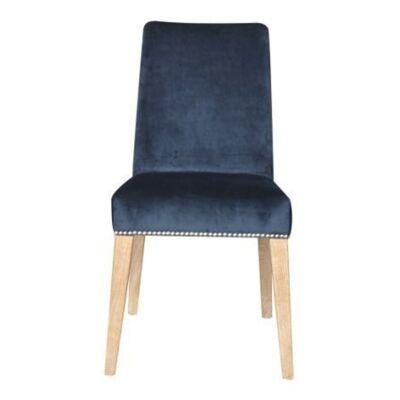Nowa Velvet Fabric Dining Chair, Dark Blue