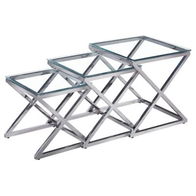 Enville 3 Piece Glass Topped Stainless Steel Nested Table Set