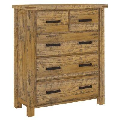 Oxley Pine Timber 5 Drawer Tallboy