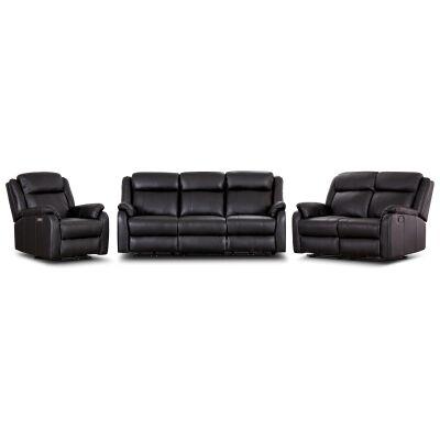 Jerris 3 Piece Leather Electric Recliner Sofa Set, 3+1+1 Seater, Black