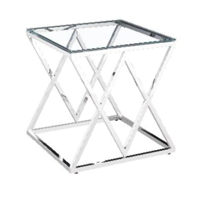Morda Glass Topped Stainless Steel Lamp Table