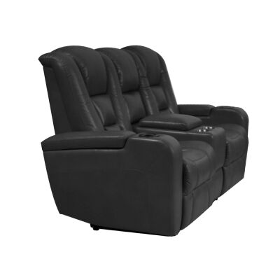 Sancrox Leather Electrical Recliner Sofa, 2 Seater, Black