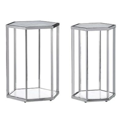 Meifod 2 Piece Glass Topped Stainless Steel Hexagonal Side Table Set