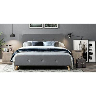 Miller Fabric Bed, Queen, Light Grey