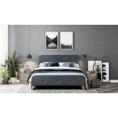 Miller Fabric Bed, Double, Charcoal