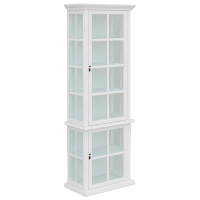 Tilbury Acacia Timber 2 Door Display Cabinet, White