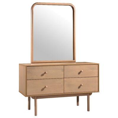 Rafflie Wooden 4 Drawer Dresser with Mirror