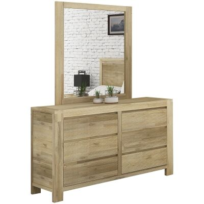 Chatsbury Acacia Timber 6 Drawer Dresser with Mirror