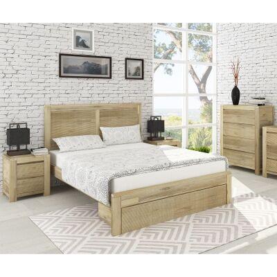 Chatsbury Acacia Timber 4 Piece Tallboy Bedroom Suite, Queen