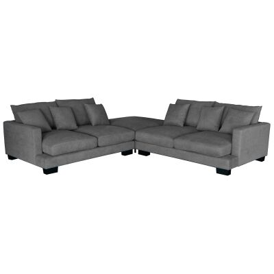 Patricia Fabric Fabric Modular Lounge Suite, 5 Seater with Ottoman, Light Grey