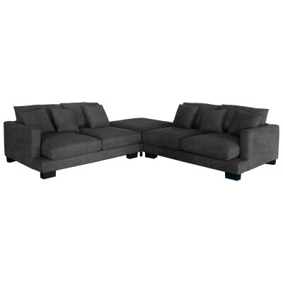 Patricia Fabric Fabric Modular Lounge Suite, 5 Seater with Ottoman, Dark Grey