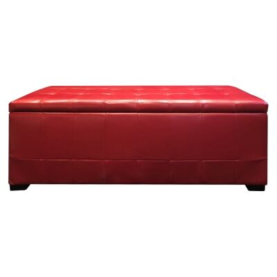 Axton Faux Leather Storage Ottoman Bench, 128cm, Red