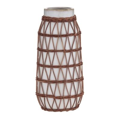 Watego Ceramic & Rattan Vessel / Vase, Long