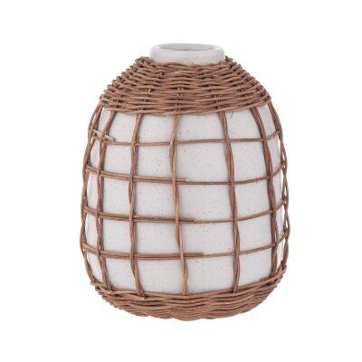 Watego Ceramic & Rattan Vessel / Vase, Squat