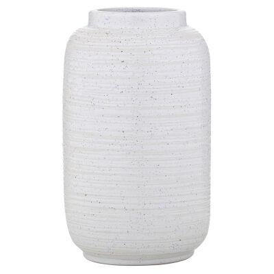 Flo Ceramic Vessel, Small, White / Blue Speckle