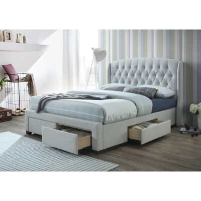Karin Fabric Bed with Drawers, Double