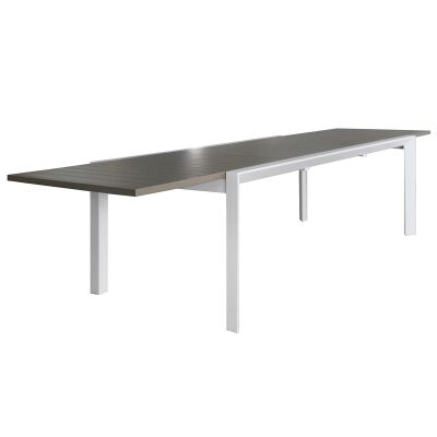 Ruby Aluminium Outdoor Extensible Dining Table, 220cm-340cm, White