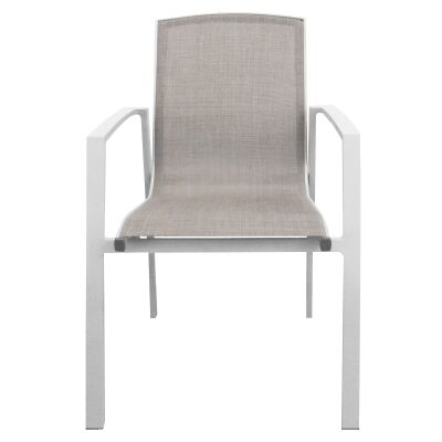 Ruby Aluminium Outdoor Sling Dining Armchair, White