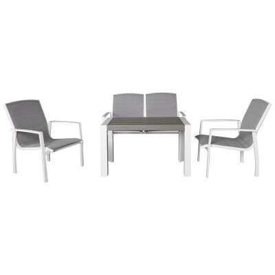 Ruby 4 Piece Aluminium Outdoor Lounge Setting, White