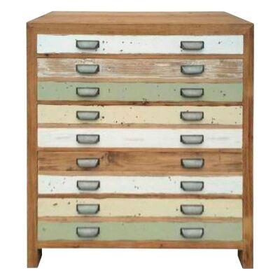 Epsom Recycled Elm Timber 5 Drawer Tallboy