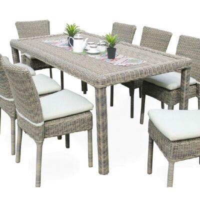 Mark 7 Piece Wicker Outdoor Dining Table Set, 180cm