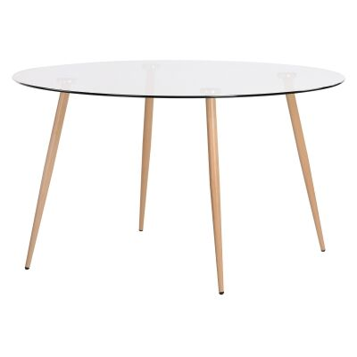 Zolfo Tempered Glass Topped Round Dining Table, 135cm