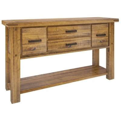 Serafin Rustic Pine Timber Console Table, 147cm