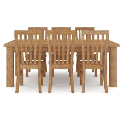 Serafin 7 Piece Rustic Pine Timber Dining Table Set, 180cm