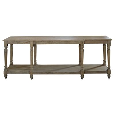 Providence Oak Timber Console Table, 200cm, Weathered Oak