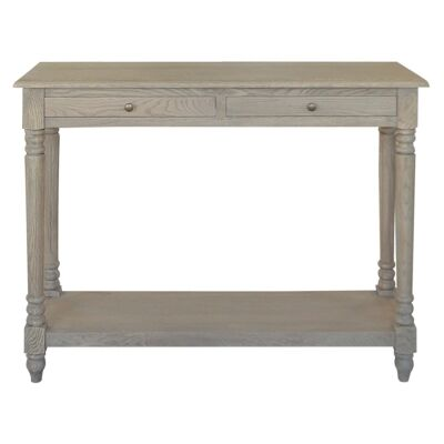 Lucius Oak Timber Console Table, 120cm, Weathered Oak