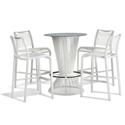 Waikiki Commercial Grade 5 Piece Bar Table Set, White