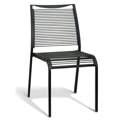 Waikiki Commercial Grade Aluminum Indoor/Outdoor Dining Chair, Black