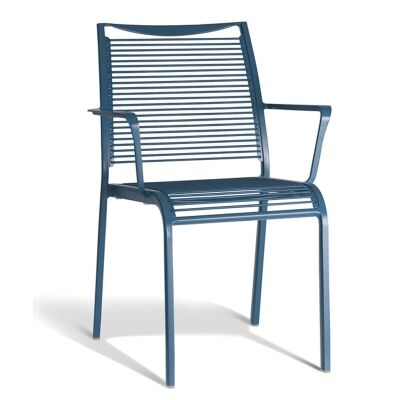 Waikiki Commercial Grade Aluminum Indoor/Outdoor Dining Armchair, Blue