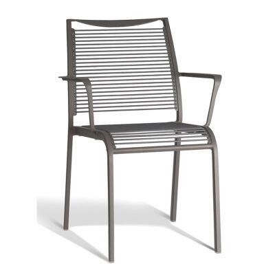 Waikiki Commercial Grade Aluminum Indoor/Outdoor Dining Armchair, Grey